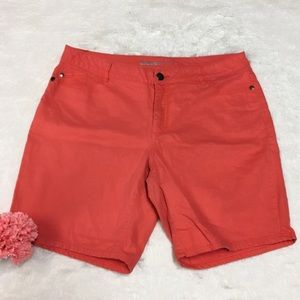 ➕ Avenue Coral Orange Denim Shorts - L